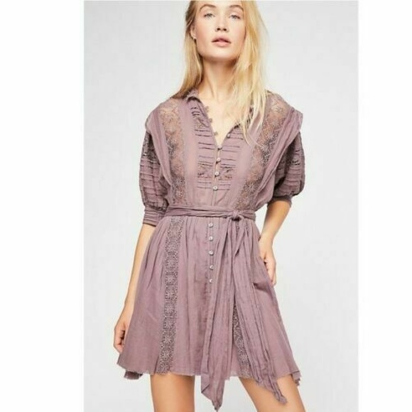 Free People Dresses & Skirts - Free People FP One Sydney Crochet Plum Dress S